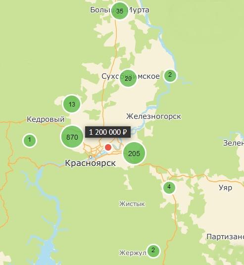 Карта объектов недвижимости Красноярска